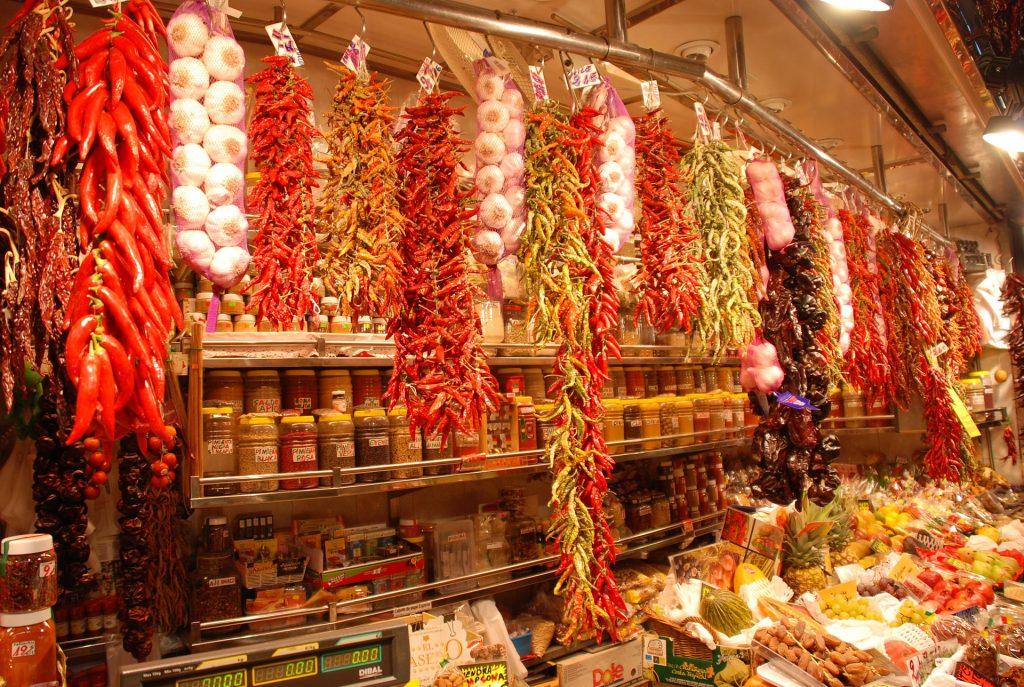 Барселона Испания Продовольственный Рынок Бокерия
