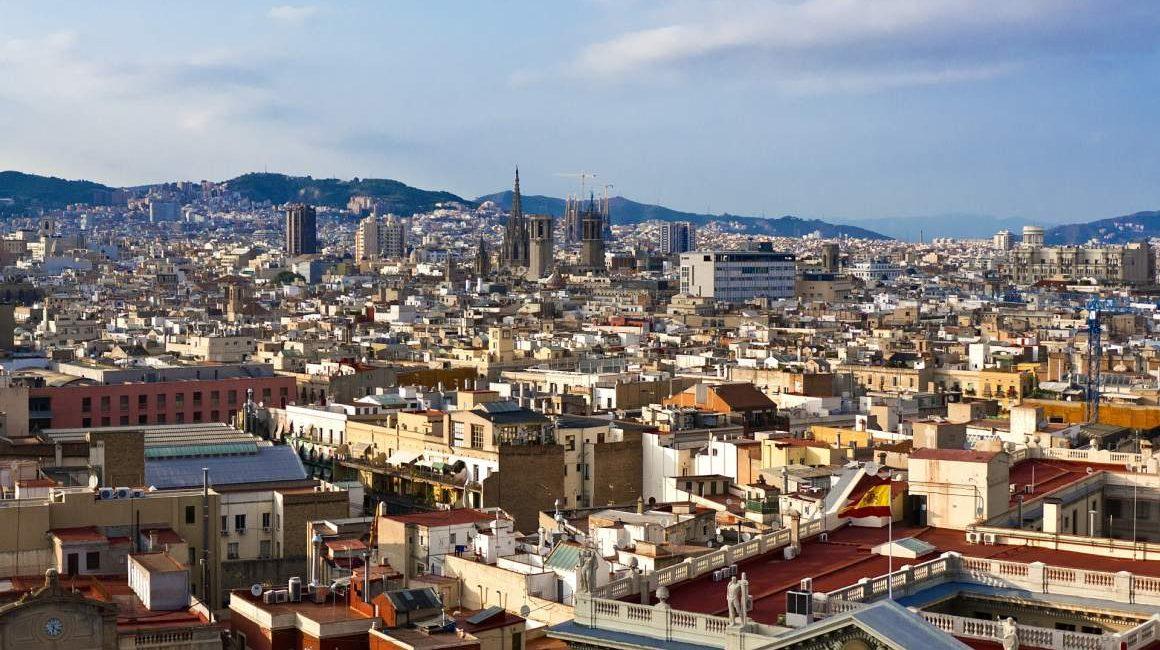 Путеводитель Барселона Испания Город Панорама Дом Дома Здание