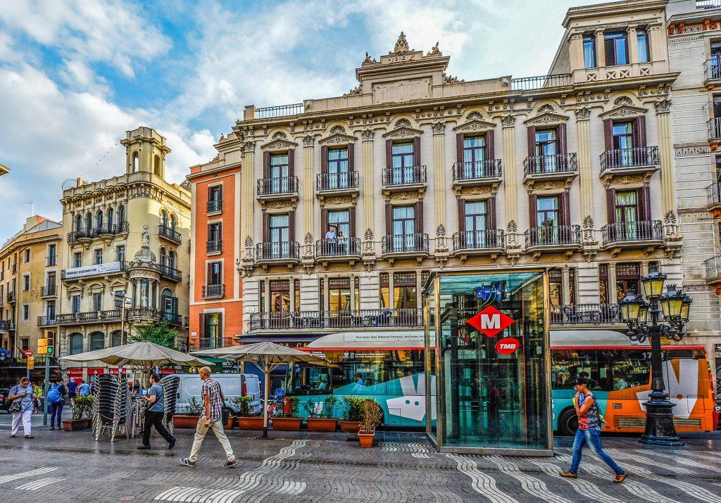 Барселона Автобус Испания Улица Город Городских