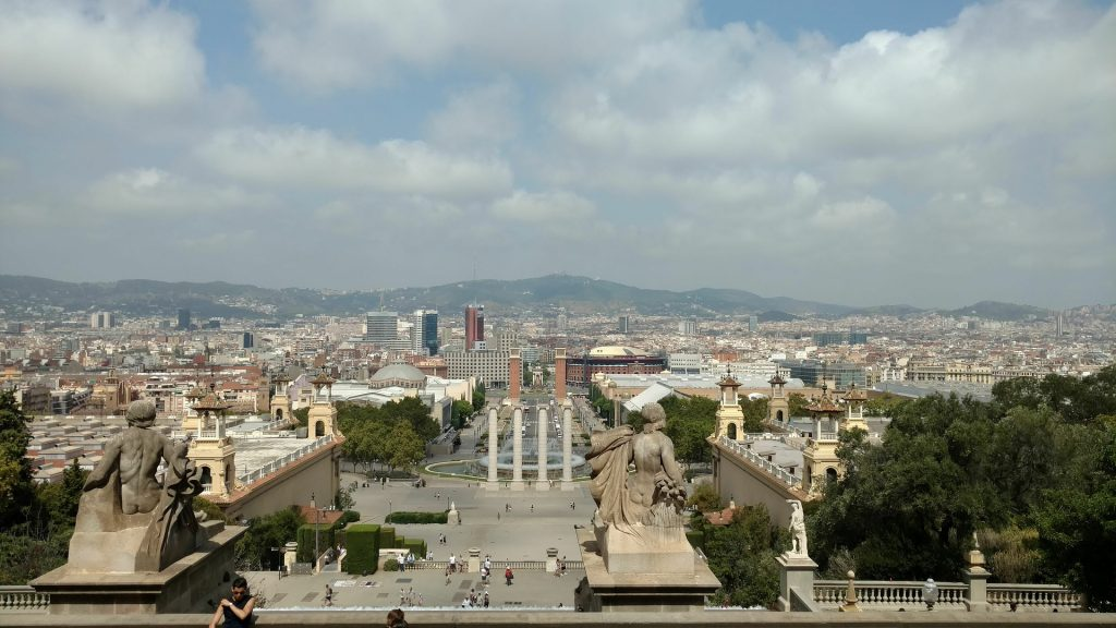 Барселона Монжуик Небо Солнечный Пейзаж