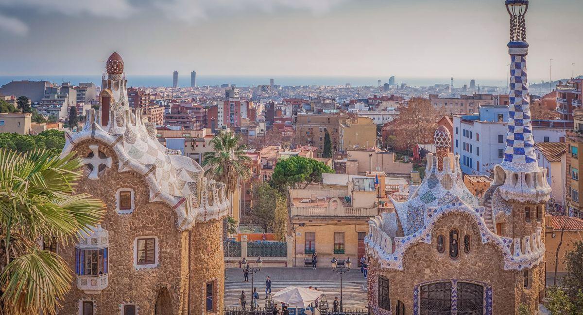 Барселона Испания Парк Гуэля Гауди Архитектура