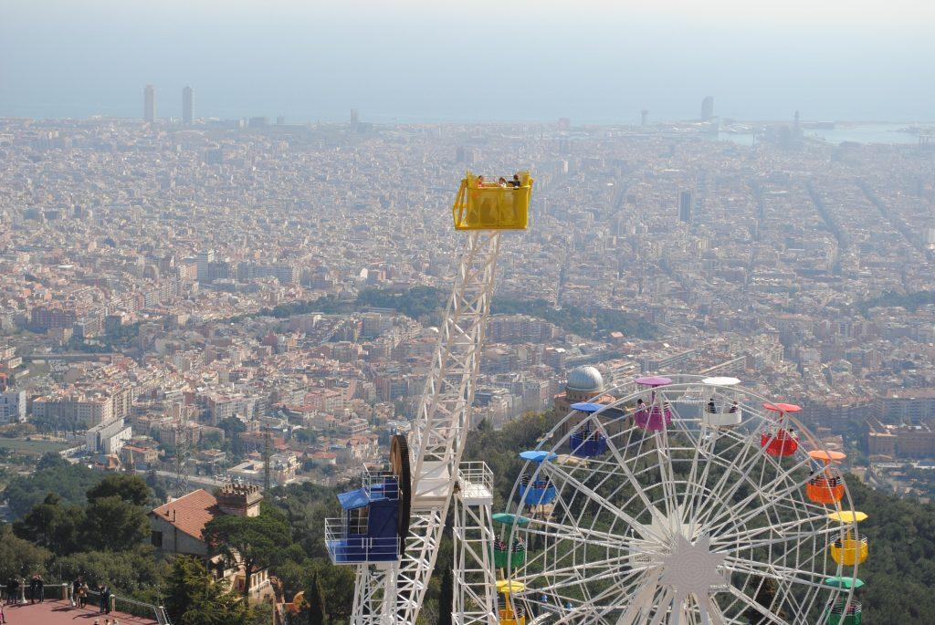 Барселона Вид Тибидабо Испания Гора Тибидабо Европе
