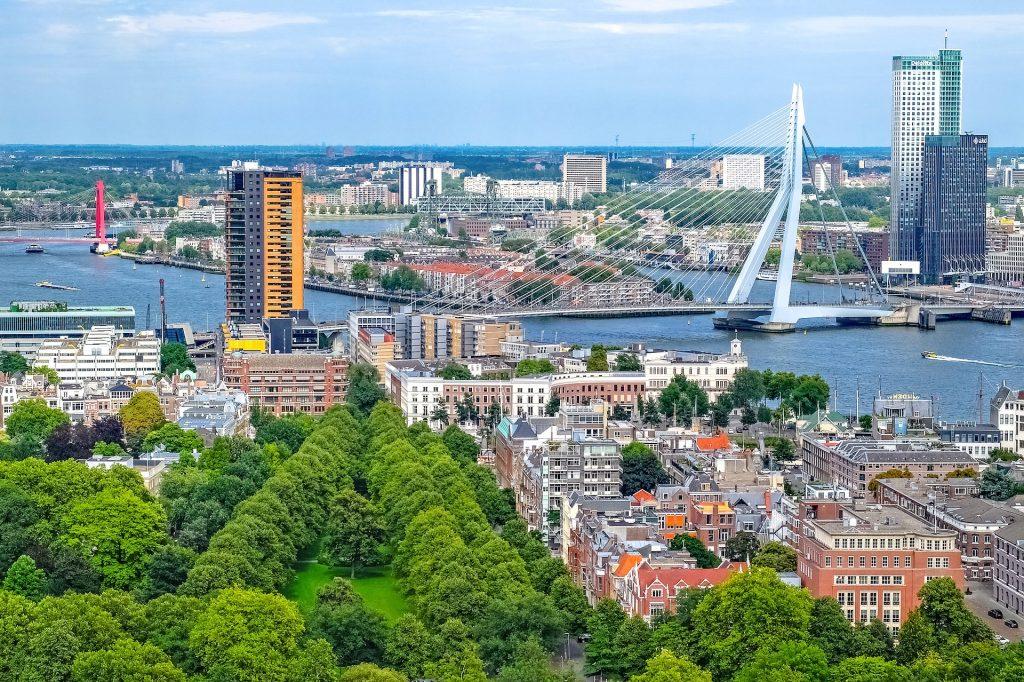 Роттердам Городской Пейзаж Вид С Воздуха Мост Здание