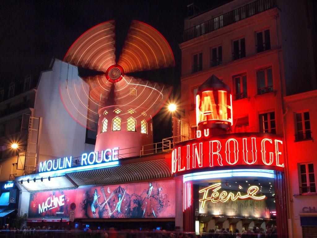 Франция Париж Мулен Руж Ночная Точка Зрения