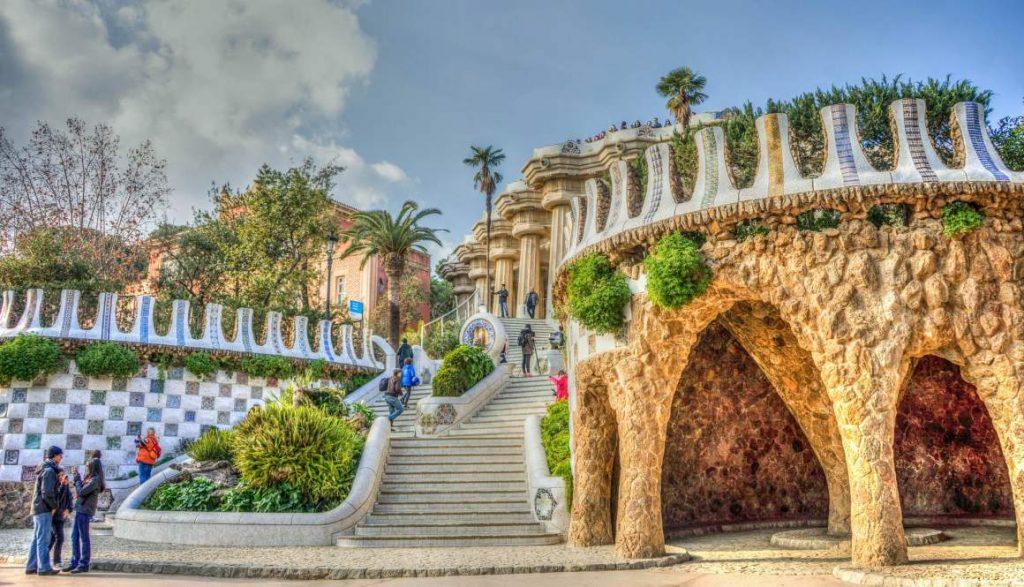 Гауди Парк Гуэль Архитектуры Барселона Испания