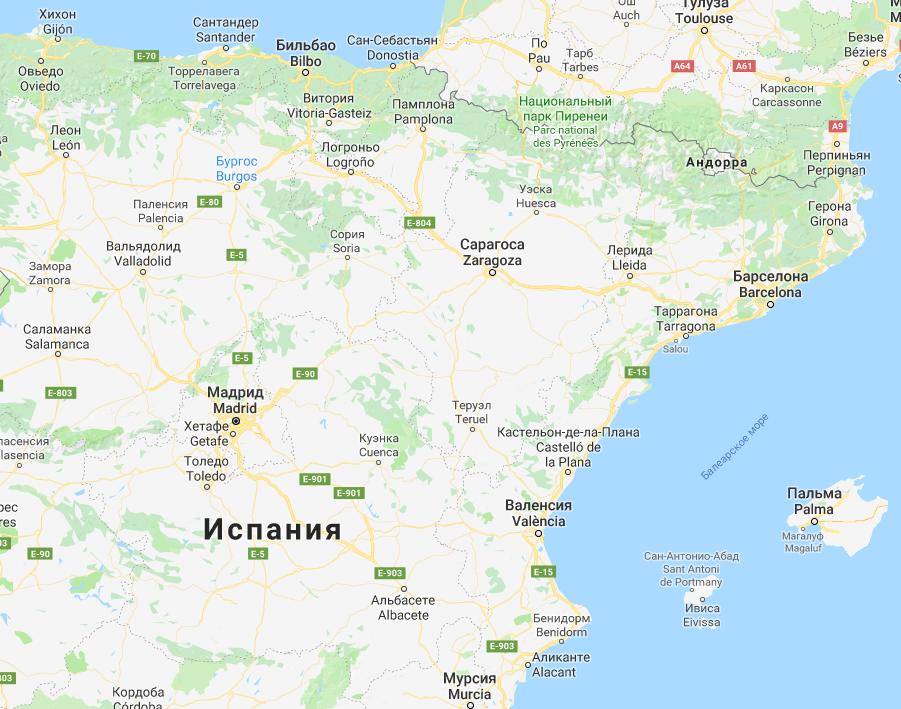 Карта Испании Google карты