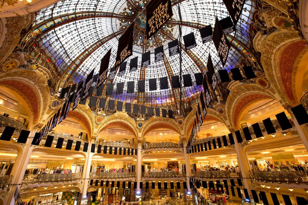 Париж La Fayette Универмаг Франция Рождество Покупки Магазин Париж Роскошь Красота Шоппинг
