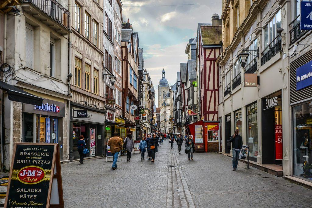 Улица Город Тротуар Туризм Руан Франция Нормандия