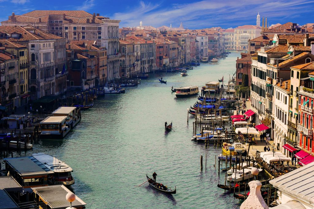 Венеция Canale Гранде Гондольер Город Италия Канал