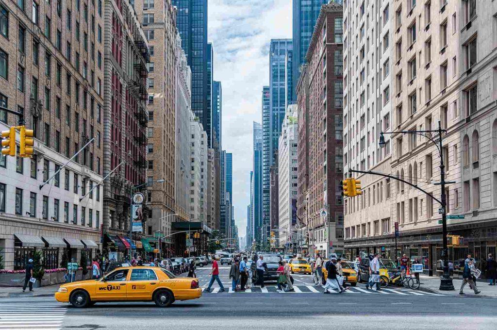 Архитектуры Нью Йорк Манхеттен Зданий Автомобили