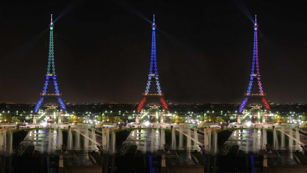 Эйфелева Башня Подсветка ночью Париж Памятник Архитектуры День Рождения