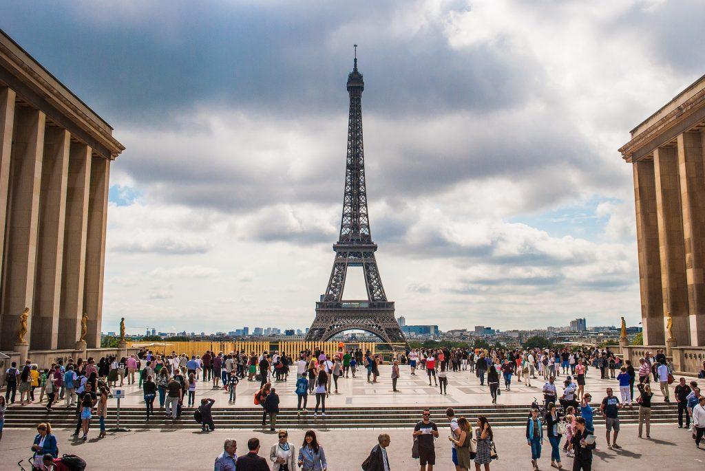 Эйфелева Башня Франция Парижская Площадь Колонны