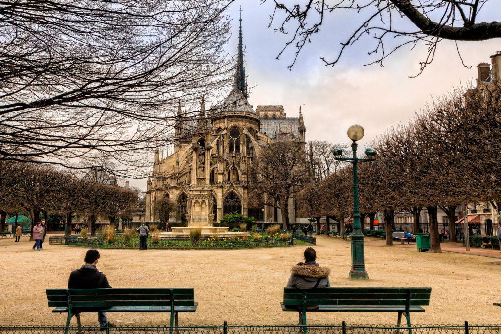 Париж Город Собор Парижской Богоматери Нотр-Дам Сад Осень