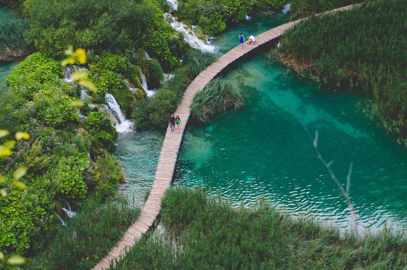 Плитвицкие Озера Озера Вид С Воздуха Хорватия