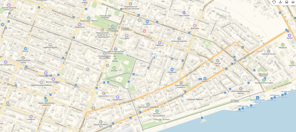Карта достопримечательностей Саратова что посмотреть в Саратове за 1 день по центру города