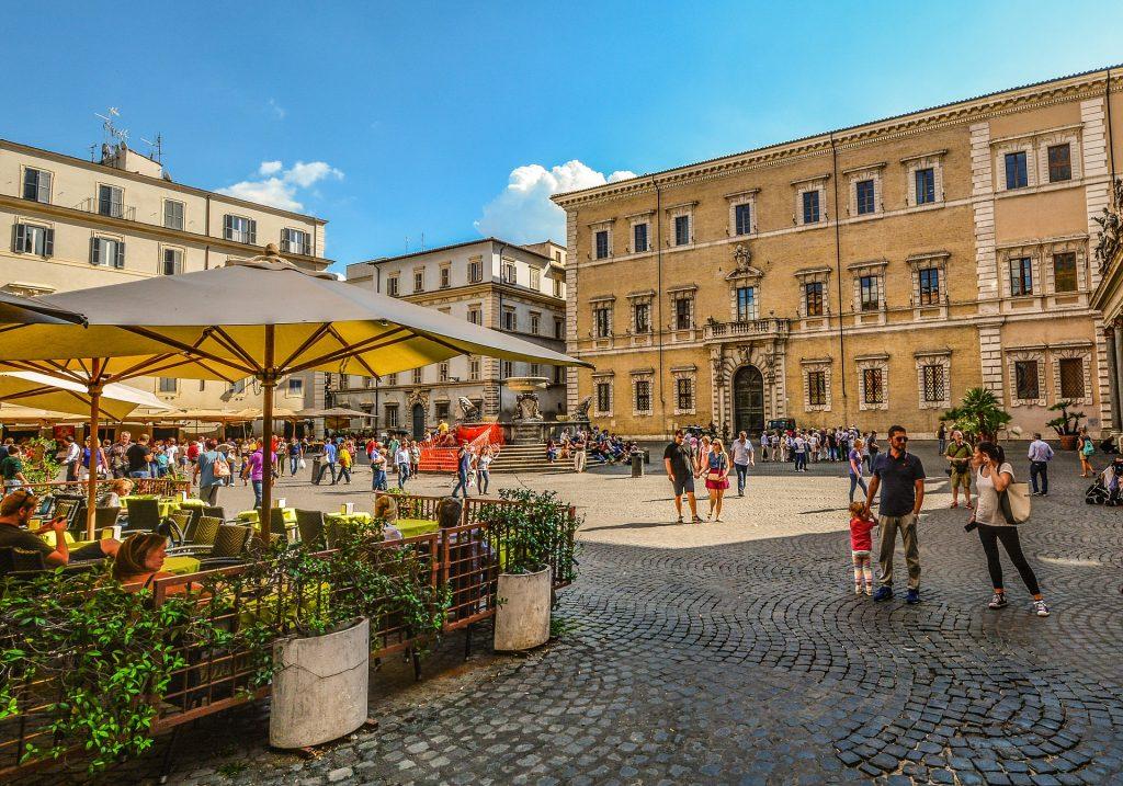 Трастевере Рим Италия Итальянская Римская Семья Рим кафе