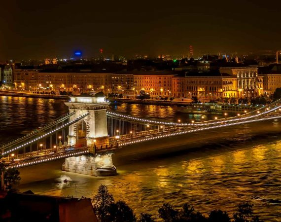 Венгрия Будапешт Цепной Мост Сечени Висячий Мост Ориентир