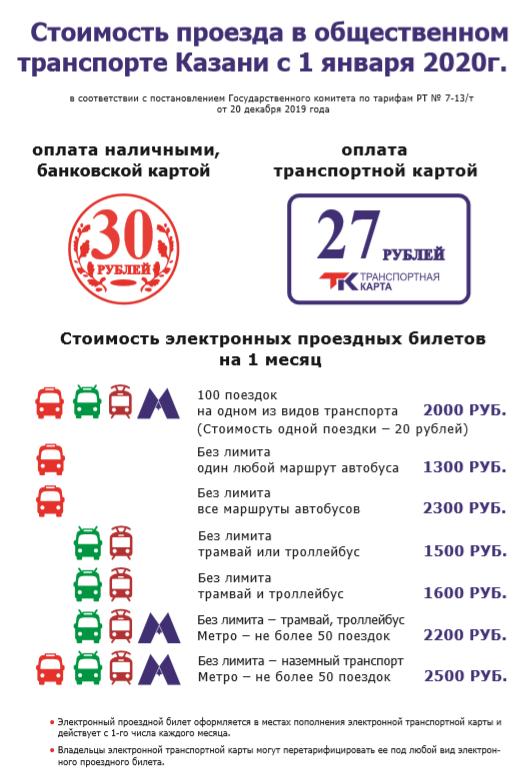 стоимость проезда в казани