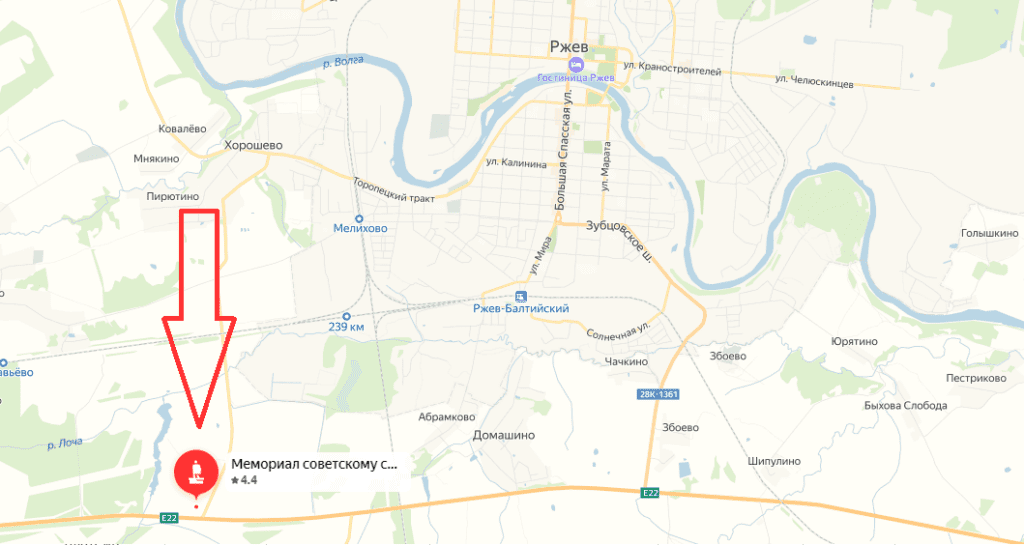 ржевский мемориал на карте